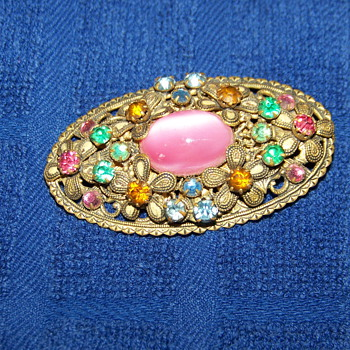Czechoslavakian colored stone brooch - Costume Jewelry