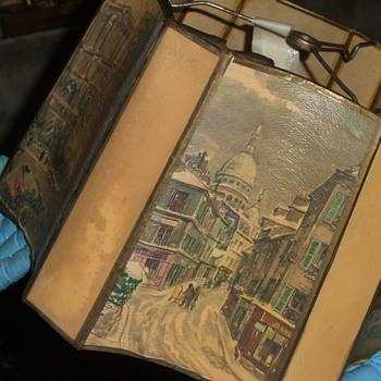 Unusual vintage parchment floor lamp shade