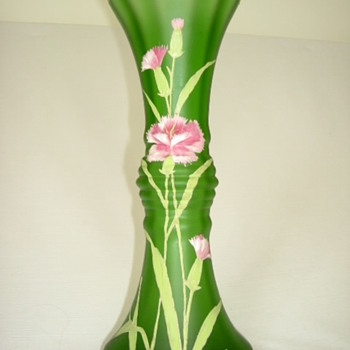 Goldberg Vase with Enamelled Flowers and Leaves - Art Glass