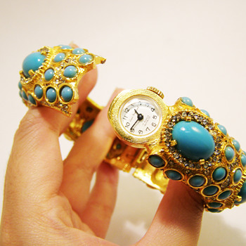 Vintage Kenneth Jay Lane Turquoise Cabochon and Rhinestone Bangle with Hidden Watch - Costume Jewelry
