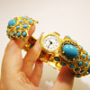 Vintage Kenneth Jay Lane Turquoise Cabochon and Rhinestone Bangle with Hidden Watch