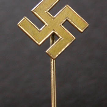 WWII German Stick Pin Brass Swastika  - Military and Wartime