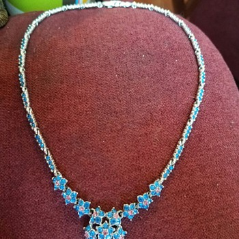 Vintage Delicate Necklace in Bright Blues and Pink Rhinestones - Costume Jewelry