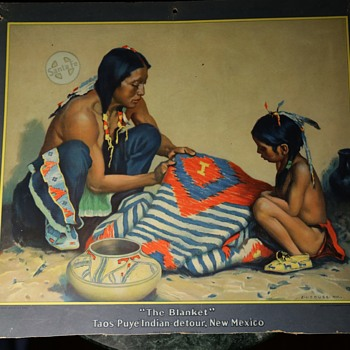 """The Blanket"" Taos-Puye Indian detour, New Mexico - Santa Fe Railroad - Visual Art"
