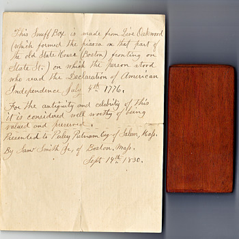 Snuff  Box made from wood from Boston State House 1776 - Paper