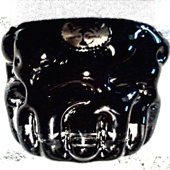 Heavy Black and Clear Glass Ashtray/ Free Form Design / Labled Bohemia /Unknown Age