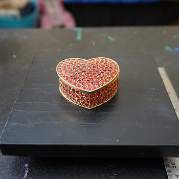 Red Rhinestone Heart Trinket Box