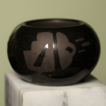 Can you read this? - Black Burnished Native American Pottery - miniature - Native American