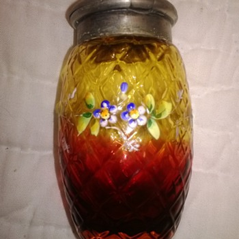 Quilt Pattern Mustard Jar - Art Glass
