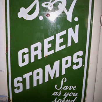 porcelain S&amp;H green stamps sign