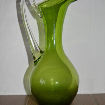 Glass pitcher - Whitefriars green glass jug from the 1960s