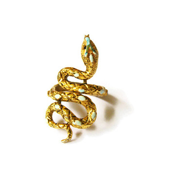 Vintage Signed ART Turquoise Enamel Snake Wrap Ring - Costume Jewelry