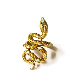 Vintage Signed ART Turquoise Enamel Snake Wrap Ring
