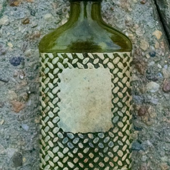 Olive Green Bottle with Enamel Basket Weave Embossing - Bottles
