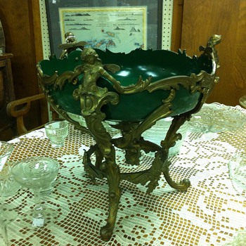 Green Bowl on Brass legs - Victorian Era