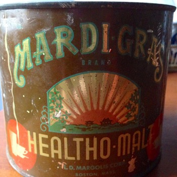 Mardi-Gras Healtho-Malt Tin Can