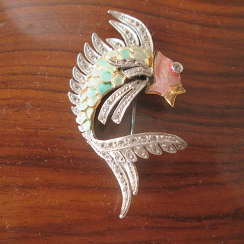 Enameled fish brooch - Costume Jewelry
