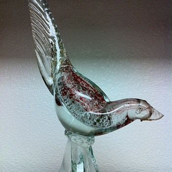 Murano Pheasant Glass Art Aventurine Sculpture