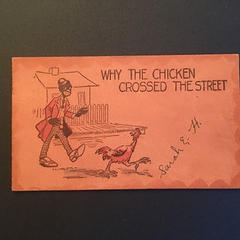 Racist post card 1907 chicken joke