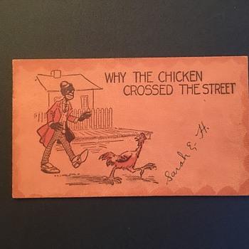 Racist post card 1907 chicken joke