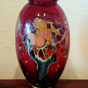 Barbara Bendzunas Art Glass Vase Tree Motif