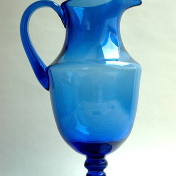 antique french victorian  cristal pitcher, probably baccarat or saint louis, 19th century. - Art Glass