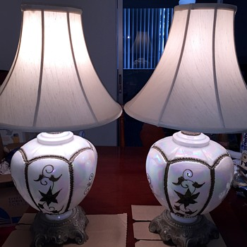 Falkenstein Hollywood Regency Pearl White Iridescent Opulent Table Lamps