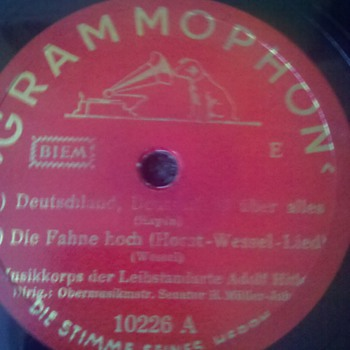 "RARE WWII Nazi Germany ""Horst Wessel Lied"" 78 rpm aka ""Die Fahne Hoch"" - Military and Wartime"