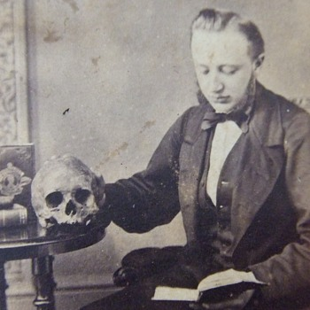 CDV of reader with a SKULL on the table - Photographs