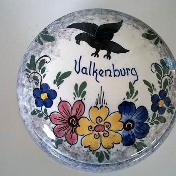 1940s (?) Gouda Porcelain Covered Trinket Dish Valkenburg (Limburg, Netherlands)