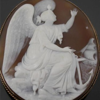 Huge cameo of hope with ship - Victorian Era