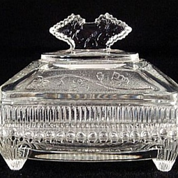 Co-Operative Flint Ivy In Snow Butter Dish, ca 1894