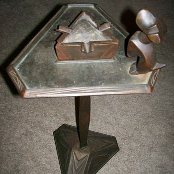 Hadley Deco Bronze  Scottie Dog Ashtray Stand - Tobacciana