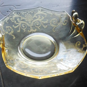 Yellow Depression Glass Bon Bon Tray