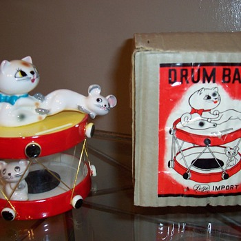 1950's Pixieware Cat and Mouse Drum Bank - Animals