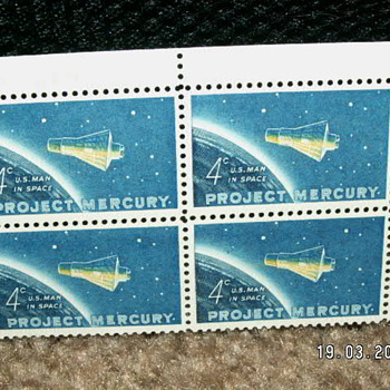 "1962 4¢ ""First Man In Space"" Project Mercury Stamps"