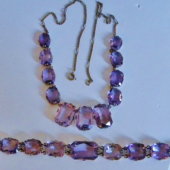 "Vintage Deco Amethyst ""Rose De France"" 835 Bracelet Germany Demi Parure - Fine Jewelry"
