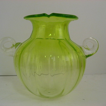 Signed but unknown green art glass vase - Art Glass