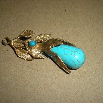 Art Nouveau pendant with turquoise. - Costume Jewelry