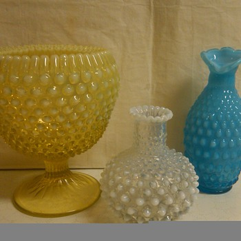 Fenton Rarities: Topaz Ribbon Candy, Blue JIP Vase, & Lamp Base Vase - Glassware