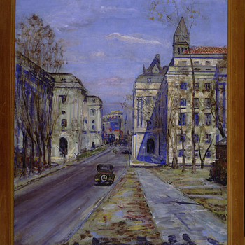 """Internal Revenue Building"", PWAP Painting, 3/1/34 Disposition: J. Edgar Hoover, FBI Director, Artist: Dorsey Doniphan - Visual Art"