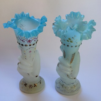 Victorian satin glass hand vases with painted decoration - almost a pair