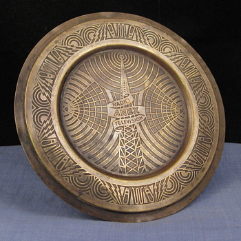 Unusual vintage brass Radio & Television Advertising Pin Tray with Fabulous Art Deco Designs!