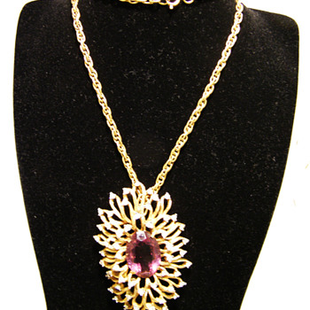 Vintage Panetta Undulating Petals Amethyst Necklace - Costume Jewelry