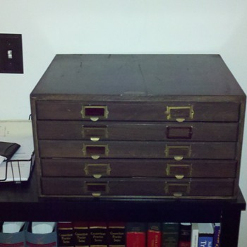 Can you tell me about my 1920's Table Top Wooden Legal File Cabinet - Office