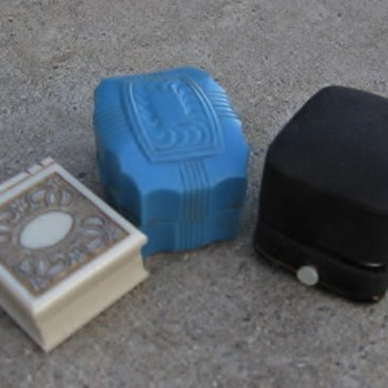 3 fun ring boxes: fabric push button & 2 plastics - Fine Jewelry