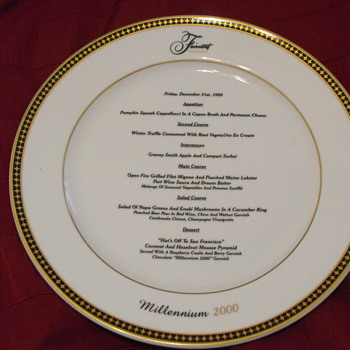 Fairmont Hotel San Francisco Dinner Menu plate Dec 31 1999 Millennium Souvenir - China and Dinnerware