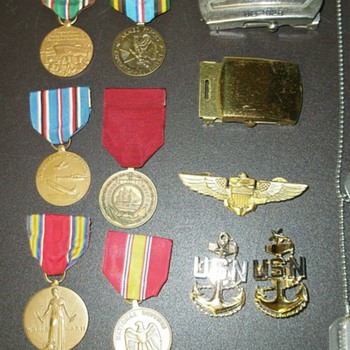 U.S. Navy Ribbons, Dog Tags, and Belt Buckle - Military and Wartime