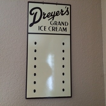 Dreyer's Ice Cream Porcelain Flavor board  Sign
