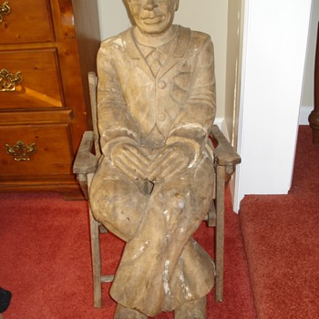 Wood Folk Art Carved Black Man